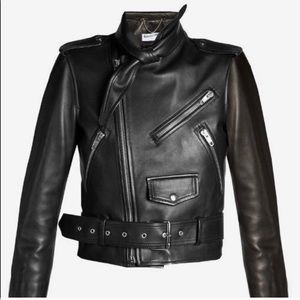 Balenciaga scarf leather biker jacket